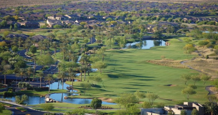 18th hole from above at Trilogy at Vistancia in Peoria Arizona
