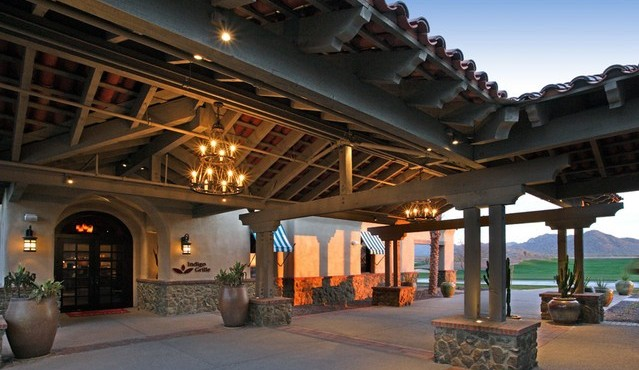 Dining and bar patio at Sun City Festival in Buckeye Arizona