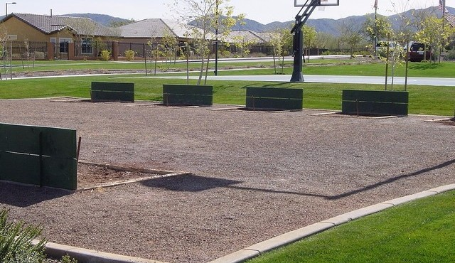 Horseshoes and basketball court at Sun City Festival in Buckeye Arizona