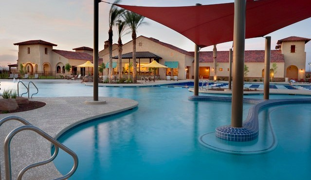 Outdoor pool and spa at Sun City Festival in Buckeye Arizona