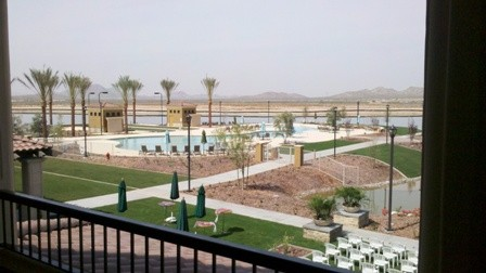 View from teh clubhouse of pool at CantaMia in Goodyear Arizona